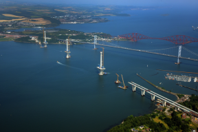 Aerial view of the three bridges across the Forth, August 2015